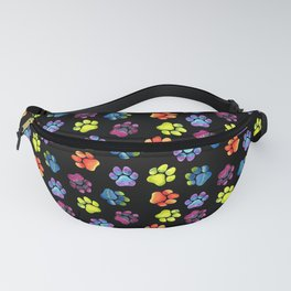 Black Rainbow Paw Print Pattern Fanny Pack