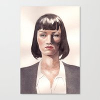mia wallace Canvas Prints featuring Mia Wallace by Ow Wei Yi