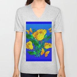 YELLOW BUTTERFLIES, ROSES, & BLUE OPTICAL ART Unisex V-Neck