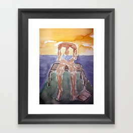 Fan art: melancholy sculpture with dropped open book in sunset Framed Art Print