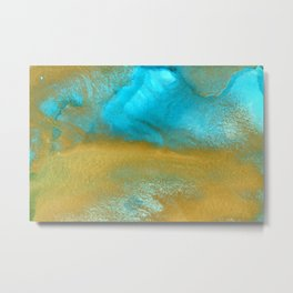 Gold and turquoise abstract ink art III Metal Print