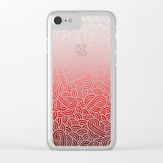 Ombre red and white swirls doodles Clear iPhone Case
