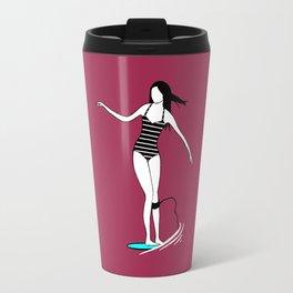 Surfer Girl Surfing in Bikini Travel Mug