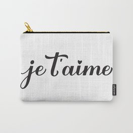 Je t'aime calligraphy hand lettering. I Love You in French Carry-All Pouch