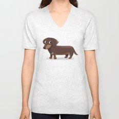 Longhaired Dachshund - Cute Dog Series Unisex V-Neck