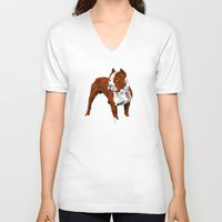 pitbull V-neck T-shirts featuring Pitbull by Styleuniversal