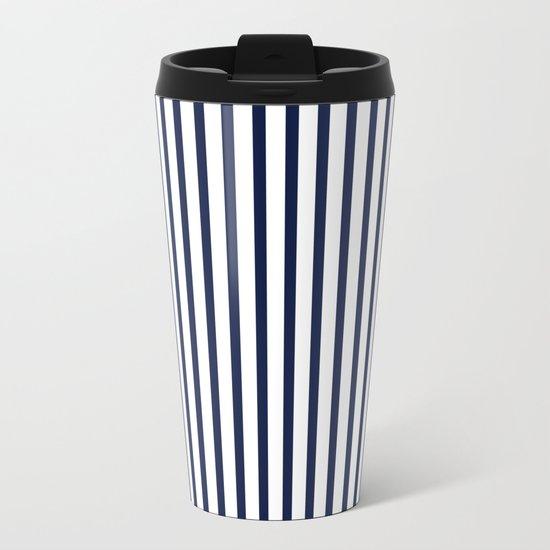 Indigo Navy Blue Vertical Stripes Metal Travel Mug