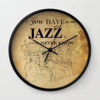 louis armstrong Wall Clocks featuring Louis Armstrong Quote by Larsson Stevensem