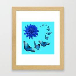 BLUE DAHLIA FLOWER & BLUE BUTTERFLIES ALLURE Framed Art Print