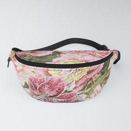 Vintage & Shabby Chic Floral Peony & Lily Flowers Watercolor Pattern Fanny Pack