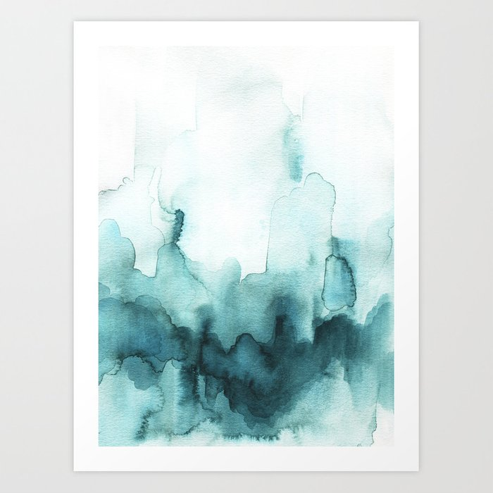 Soft teal abstract watercolor Kunstdrucke