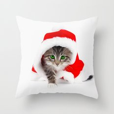 Merry Christmas - Cute Cat Throw Pillow