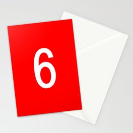 NUMBER 6 (WHITE-RED) Stationery Cards