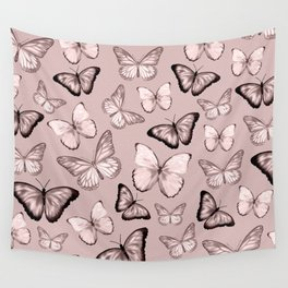 Butterflies in Retro Pink Wall Tapestry