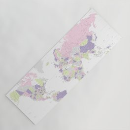 Pastels world map, highly detailed, Adventure Awaits, square Yoga Mat