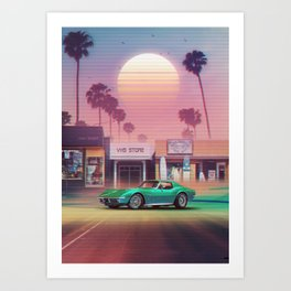 Synthwave Sunset Drive Art Print