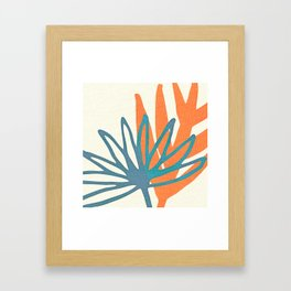 Mid Century Nature Print / Teal and Orange Framed Art Print