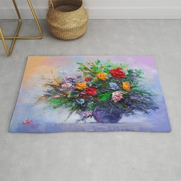 Oil painting a bouquet of flowers . Impressionist style 2 Rug