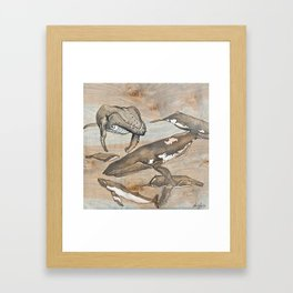 Whales. Ink and acrylic on birch. Framed Art Print