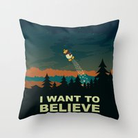 i want to believe Throw Pillows featuring I want to believe by mangulica illustrations