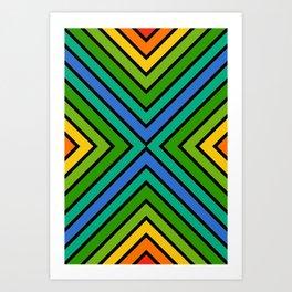 VooDoo Green Rainbow Stripes Art Print