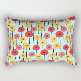 Bright Sunny Mod Poppy Flower Pattern Rectangular Pillow