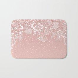 Elegant white lace floral and confetti design Bath Mat