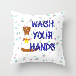 Wash Your Hands Oliver The Otter Throw Pillow