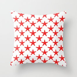 Starfishes (Red & White Pattern) Throw Pillow