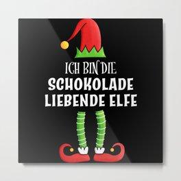 Schokolade liebende Elfe Partnerlook Weihnachten Metal Print