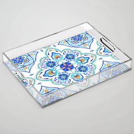 Hand Painted Moroccan Tiles - Aqua and Gold Acrylic Tray