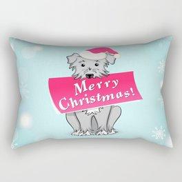 blue merry christmas Rectangular Pillow