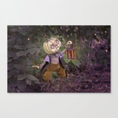 Rucus Studio Pumpkin Man and Fireflies Canvas Print