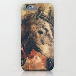 Three horses in vintage background iPhone Case