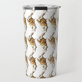 White Rabbit in Color from Alice Adventures in Wonderland Pattern Travel Mug