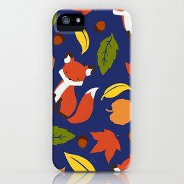 Fox Jumble - Blue iPhone Case