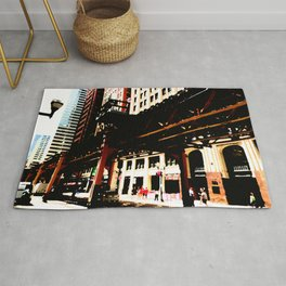 Chicago 'L' art print - Chicago L, Chicago EL - industrial urban photo - downtown Chicago CTA Rug