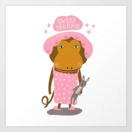 Sweet Dreams Monkey & Bunny Art Print
