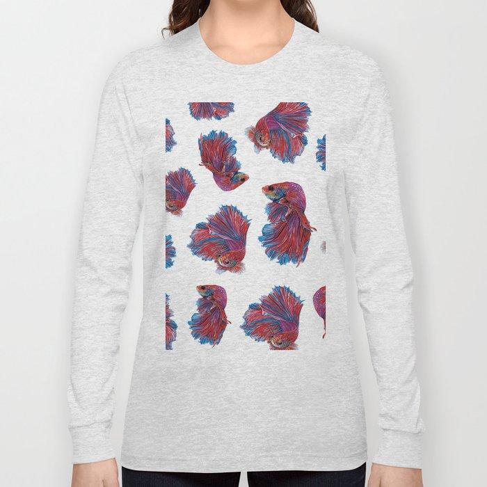 Ocean Theme- Red Blue Betta Fish Long Sleeve T-shirt