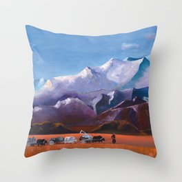 Nomadic Life - Mongolian Steppes Throw Pillow