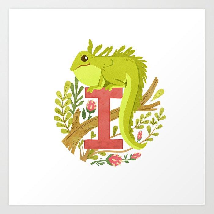 I is for Iguana Art Print