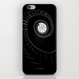Spiral staircase in blck and white iPhone Skin