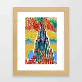 Colorful Burj Khalifa painting Framed Art Print