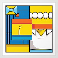 simpson Art Prints featuring Abstract Simpson by REMart