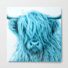 Bluish Higland Cow Face Metal Print