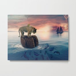 Tiger Drifting by GEN Z Metal Print