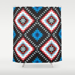 Colorful patchwork mosaic oriental kilim rug with traditional folk geometric ornament. Tribal style Shower Curtain