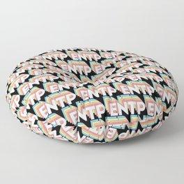 ENTP Trendy Rainbow Text Pattern (Black) Floor Pillow