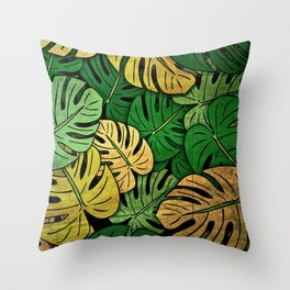 Grunge Monstera Leaves Throw Pillow