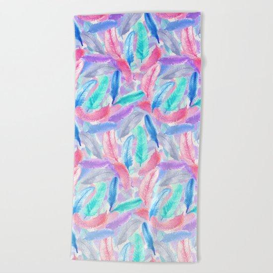 Falling Feathers Beach Towel